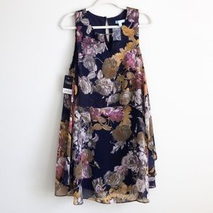 🆕Floral fall dress w/overlay on back, large